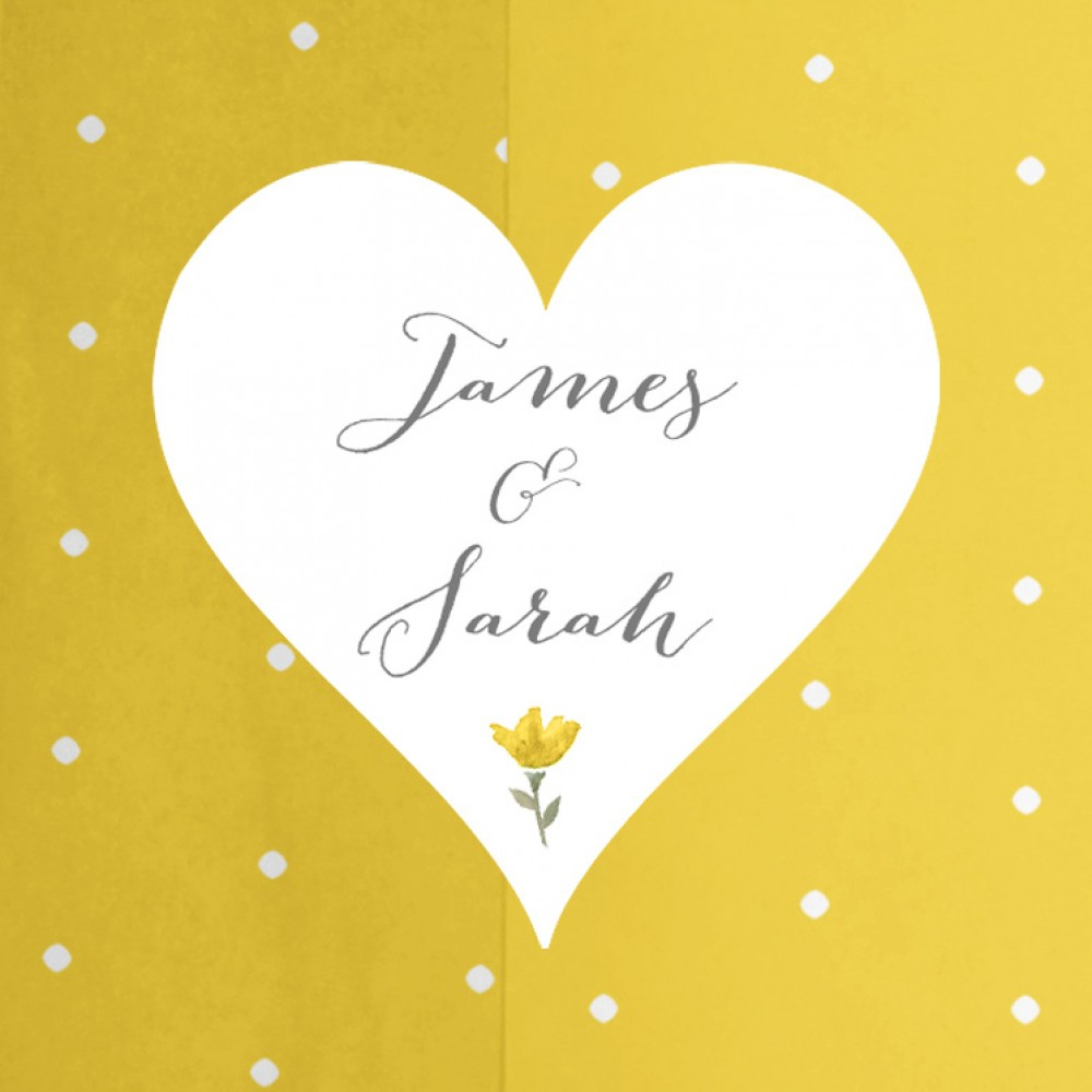 'Yellow Floral' Tri Fold Wedding Invitation Sample