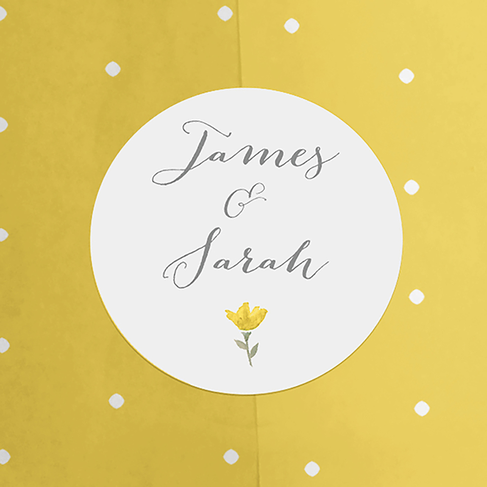 Pack of 'Yellow Floral Watercolour' Stickers