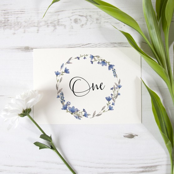 'Blue Floral Watercolour' Table Name/Number