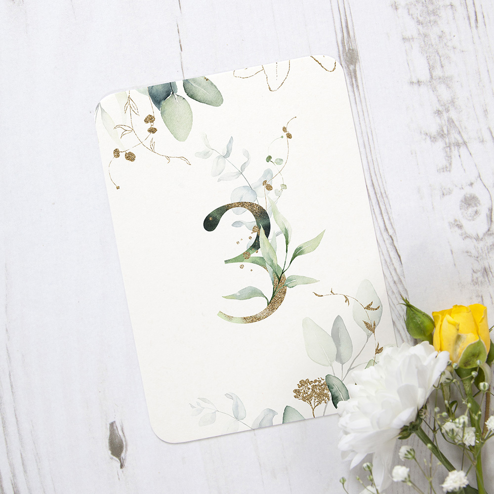 'Green & Gold Eucalyptus' Table Name/Number