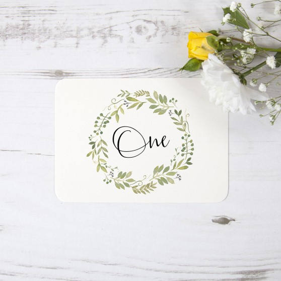 'Green Floral Watercolour' Table Name/Number