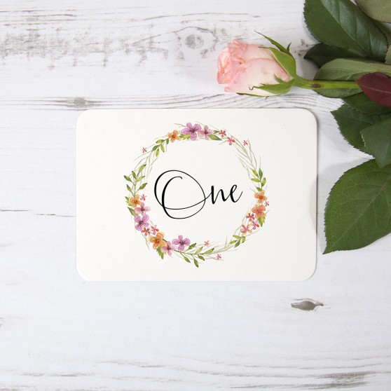 'Multi Floral Watercolour' Table Name/Number