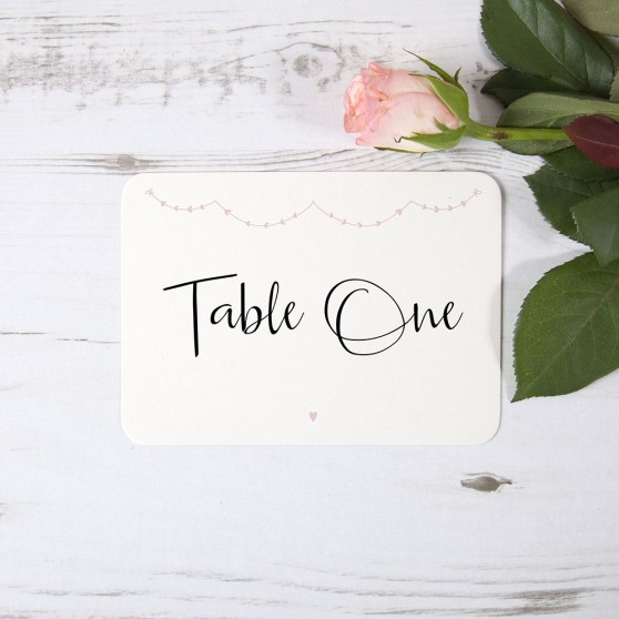 'Pink Heart Bunting' Table Name/Number