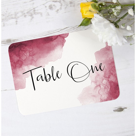 'Red Watercolour Splash' Table Name/Number
