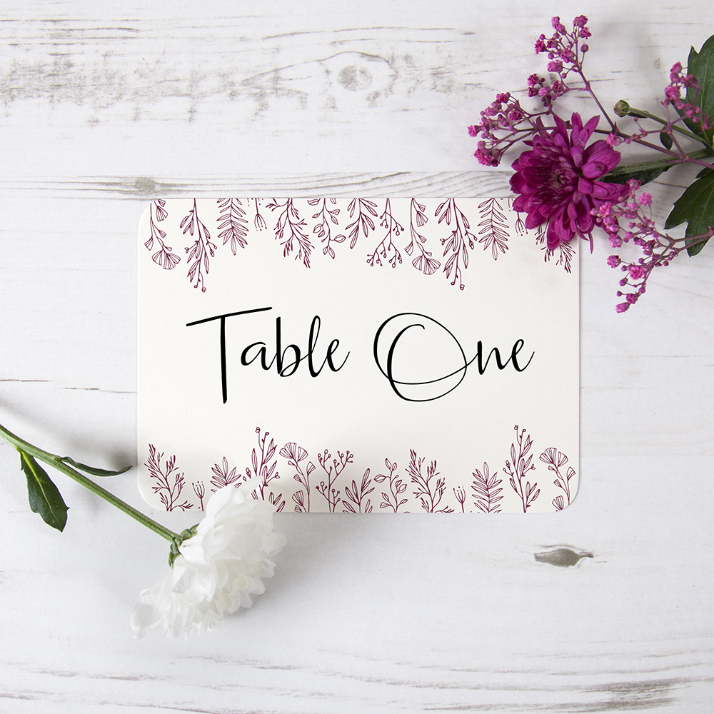 'Ruby Sophia' Table Name/Number
