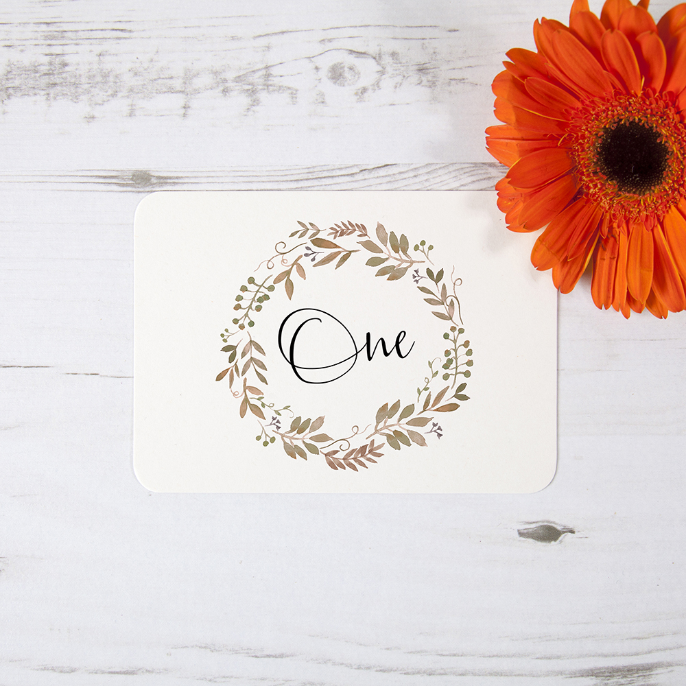 'Russet Floral Watercolour' Table Name/Number