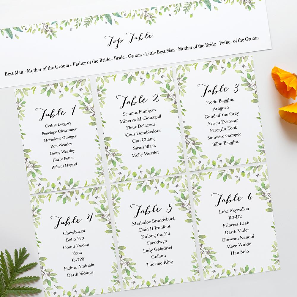 'Arabella' Table Plan Card Sample