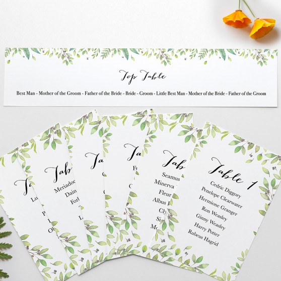 'Arabella' Table Plan Card Sample