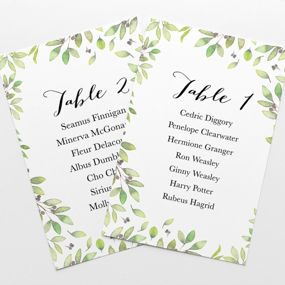 'Arabella' Table Plan Cards