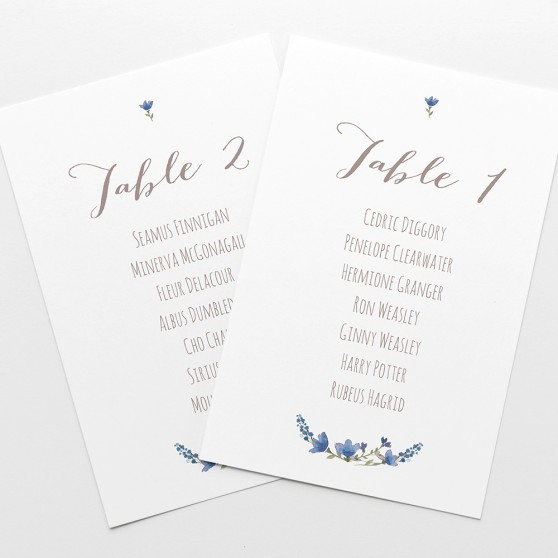 'Blue Floral Watercolour' Table Plan Cards