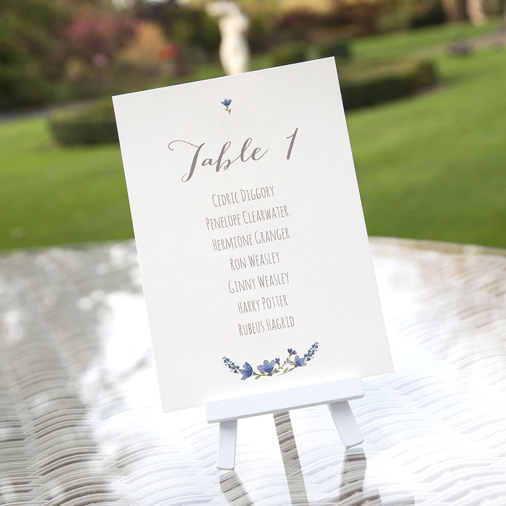 'Blue Floral Watercolour' Table Plan Card Sample