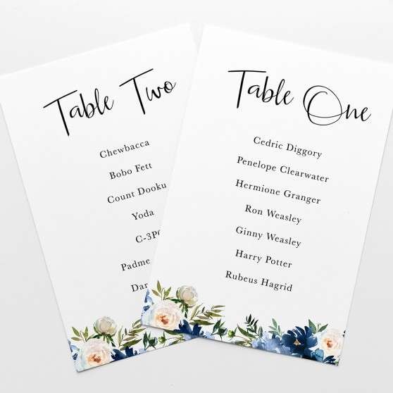 'Blue Velvet' Table Plan Card Sample