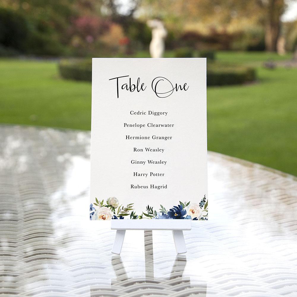 'Blue Velvet' Table Plan Card Sample