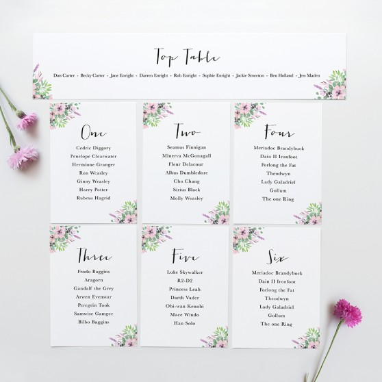 'Chloe' Table Plan Card Sample