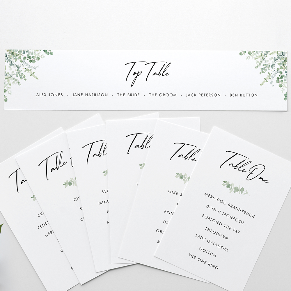 'Classic Eucalyptus' Table Plan Card Sample