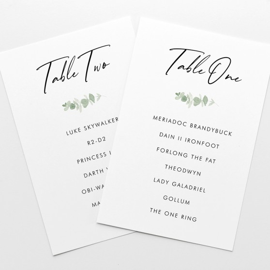'Classic Eucalyptus' Table Plan Card Sample