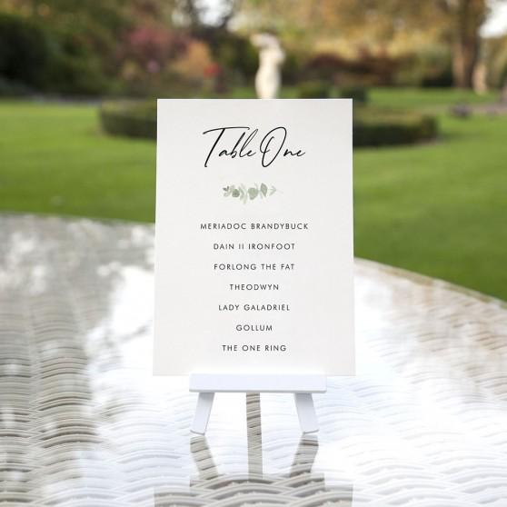 'Classic Eucalyptus' Table Plan Cards