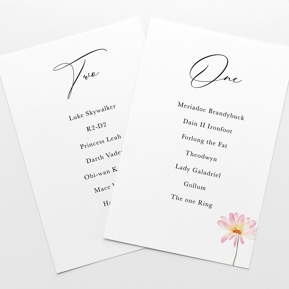 'Daisy Pink' Table Plan Cards