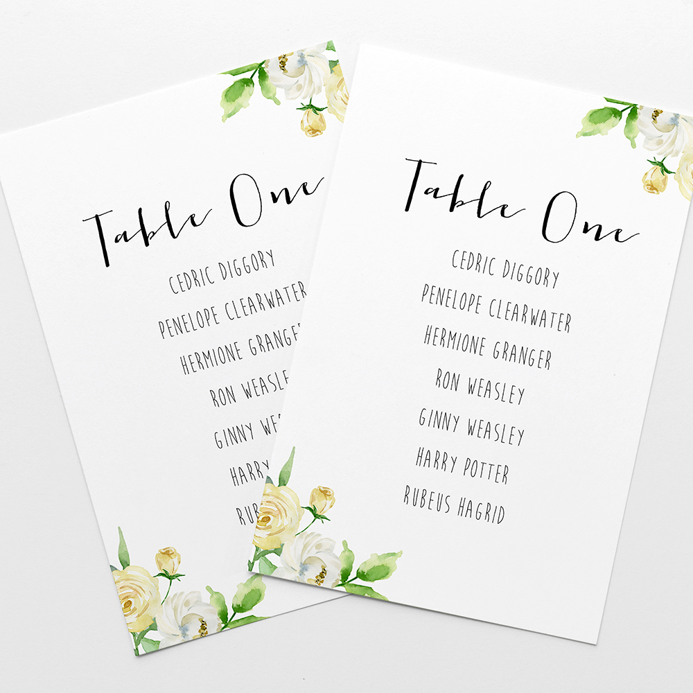 'Daphne' Table Plan Cards