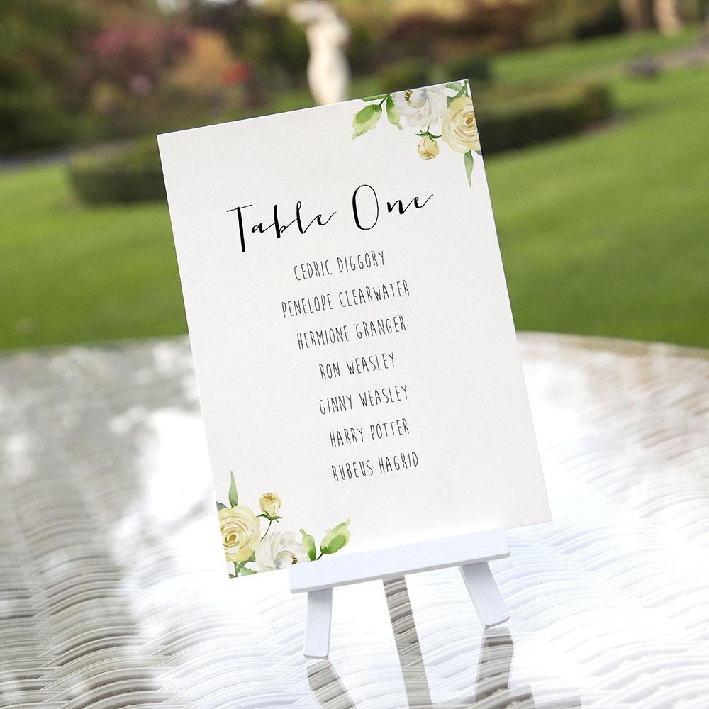 'Daphne' Table Plan Card Sample