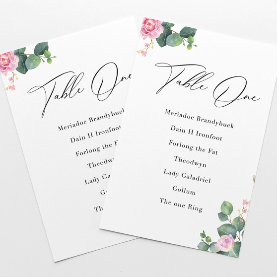 'Eucalyptus Blush' Table Plan Card Sample