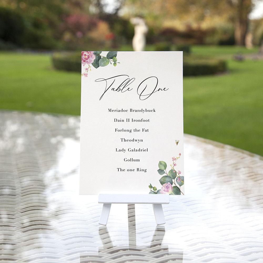'Eucalyptus Blush' Table Plan Cards
