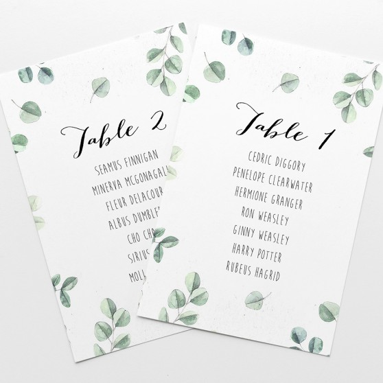 'Eucalyptus' Table Plan Card Sample