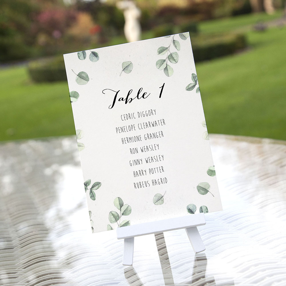 'Eucalyptus' Table Plan Cards