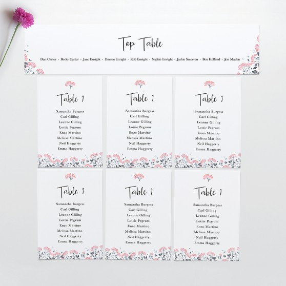 'Felicity' Table Plan Card Sample