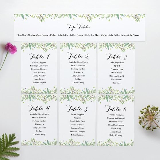 'Imogen' Table Plan Cards