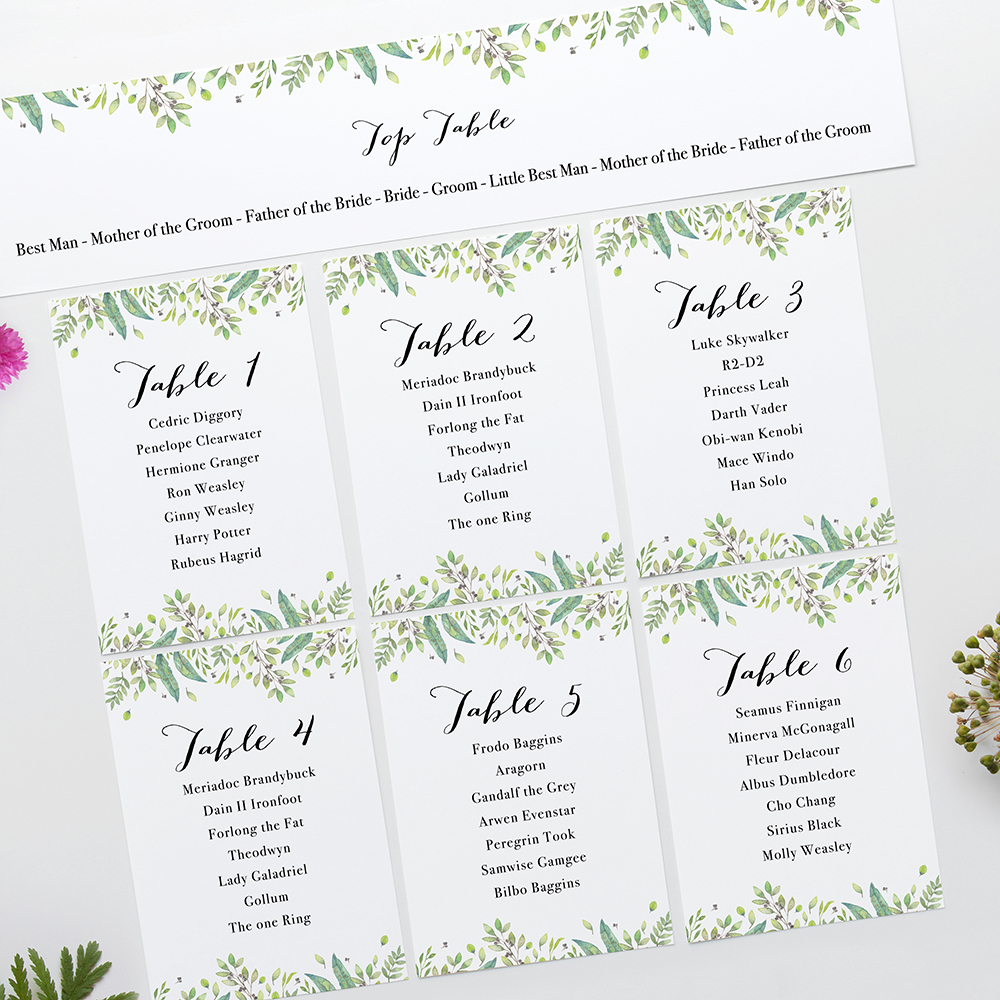 'Imogen' Table Plan Card Sample