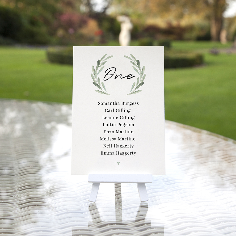 'Olive' Table Plan Cards
