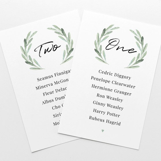 'Olive' Table Plan Card Sample