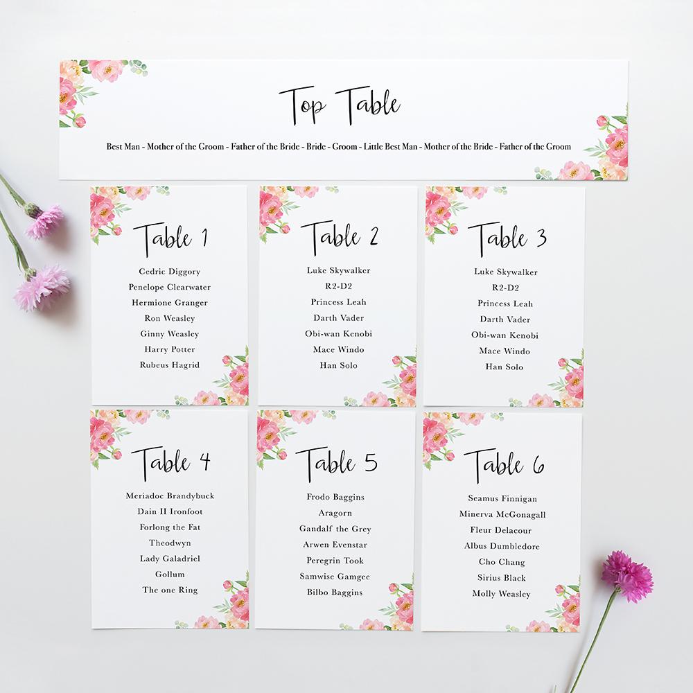 'Peony' Table Plan Card Sample