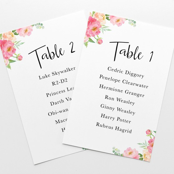 'Peony' Table Plan Card Sample