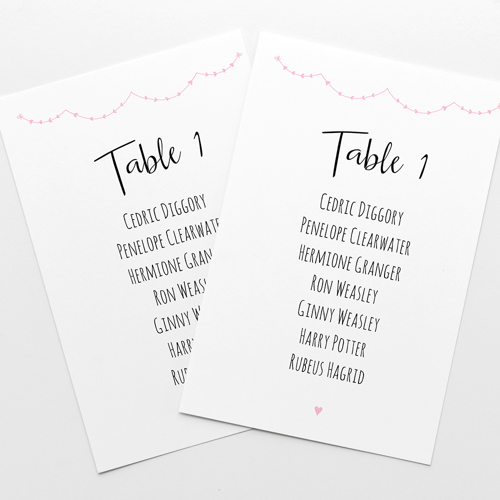 'Pink Heart Bunting' Table Plan Cards