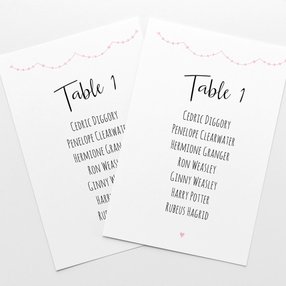 'Pink Heart Bunting' Table Plan Card Sample