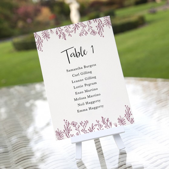 'Ruby Sophia' Table Plan Cards