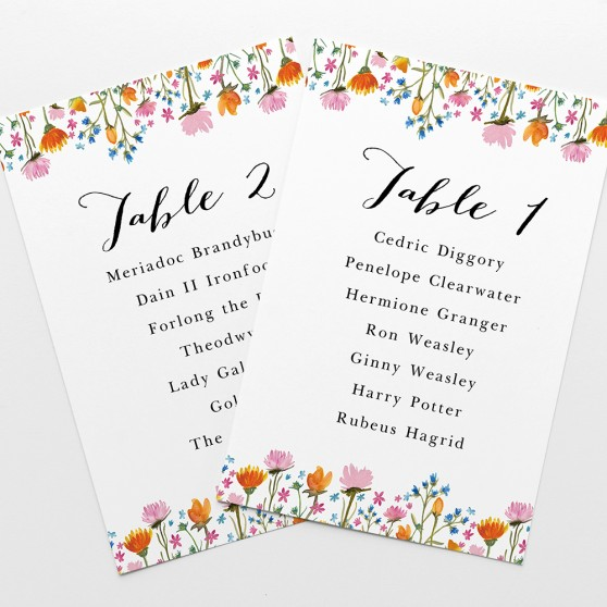 'Wild Floral' Table Plan Cards