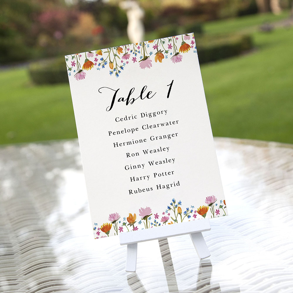 'Wild Floral' Table Plan Card Sample