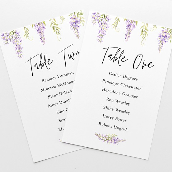 'Wisteria' Table Plan Cards