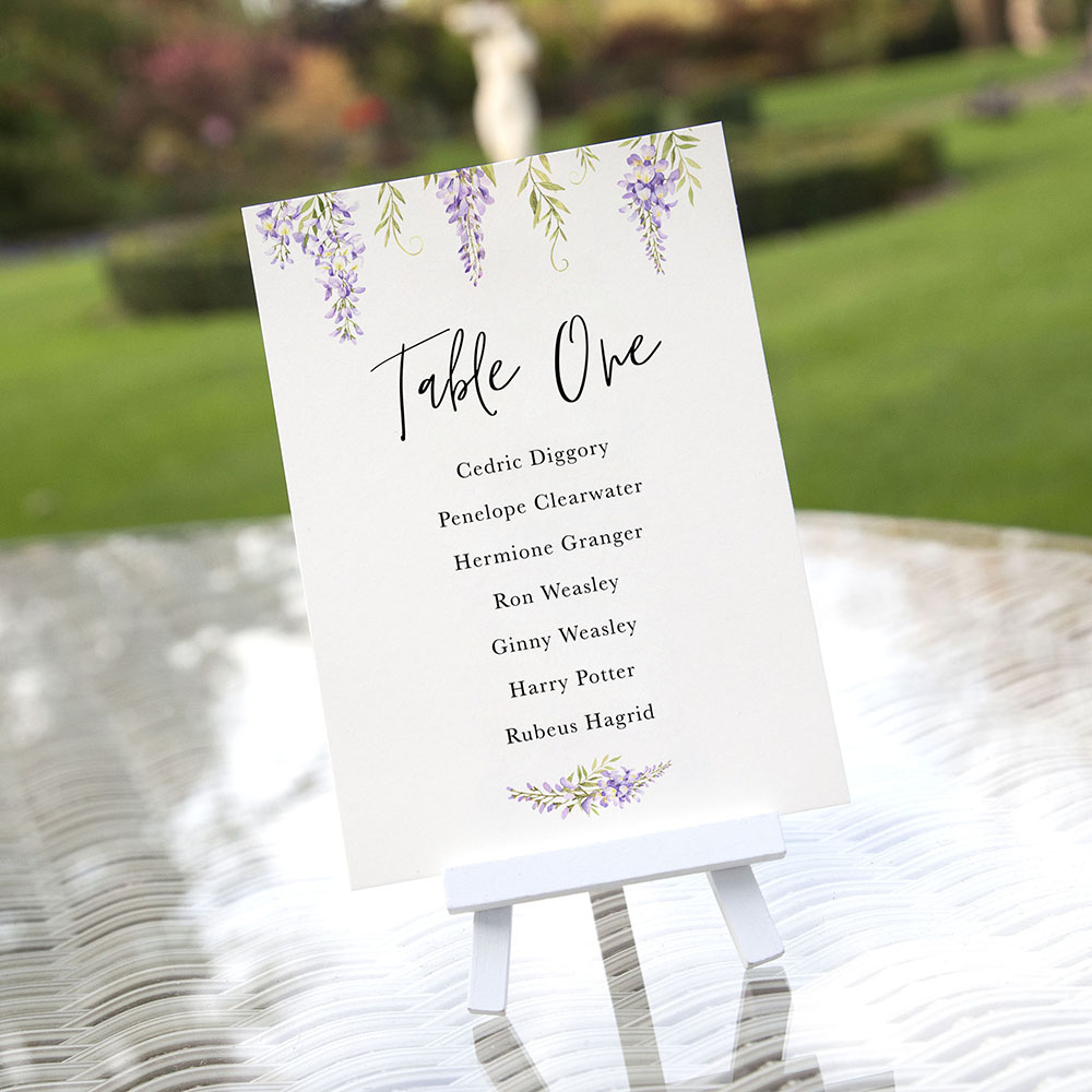 'Wisteria' Table Plan Card Sample
