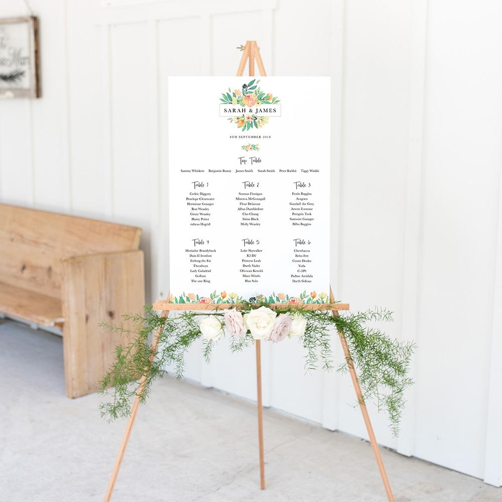 'Bella' A3 Table Plan