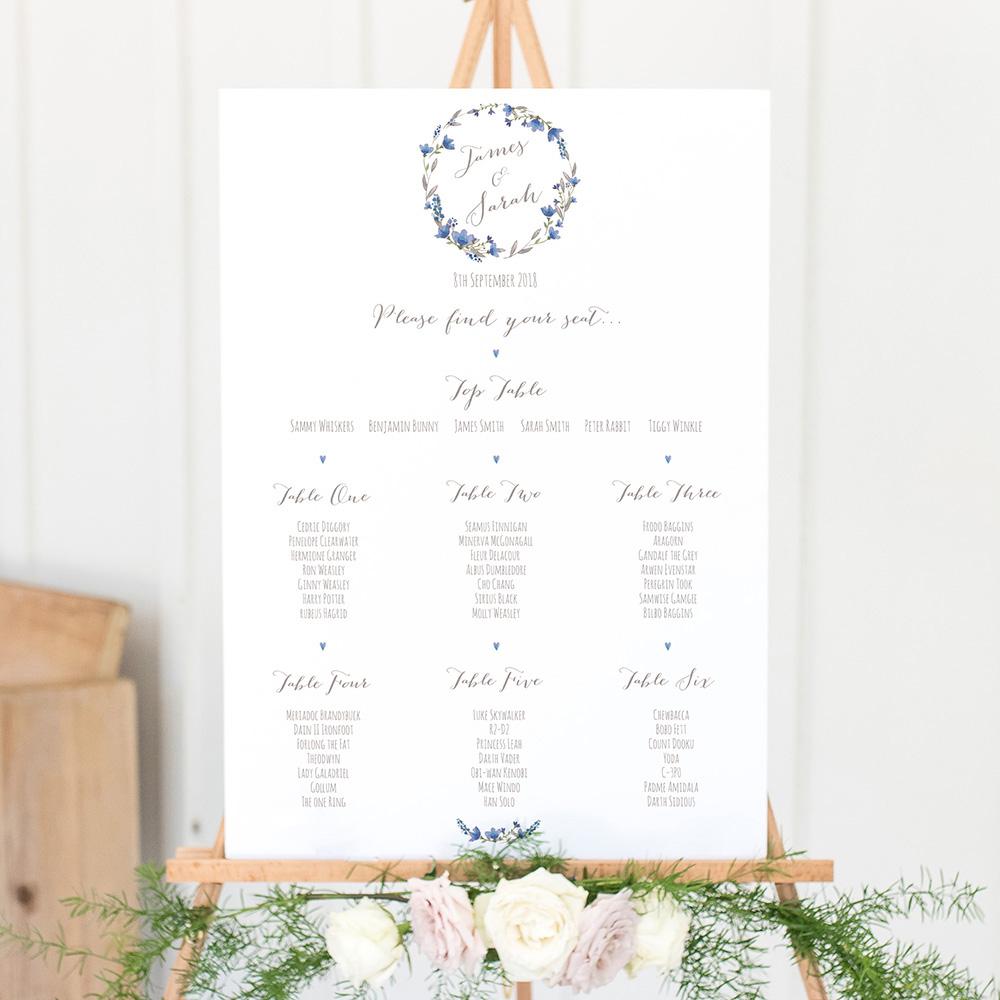'Blue Floral Watercolour' A3 Table Plan