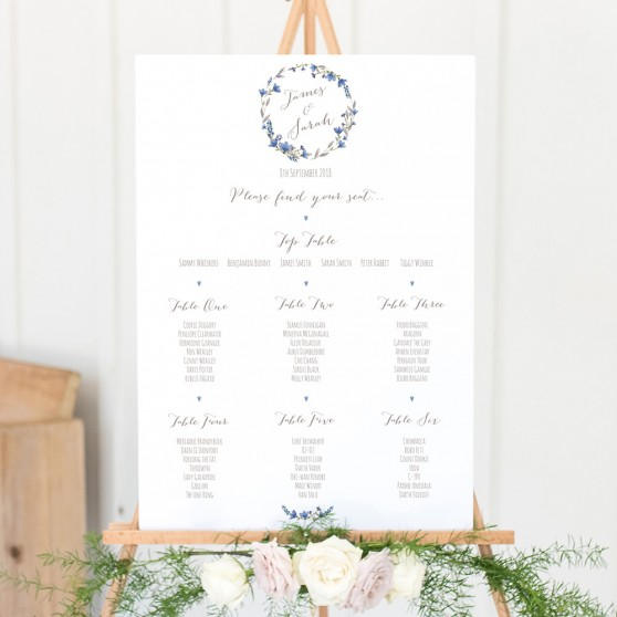 'Blue Floral Watercolour' A3 Table Plan