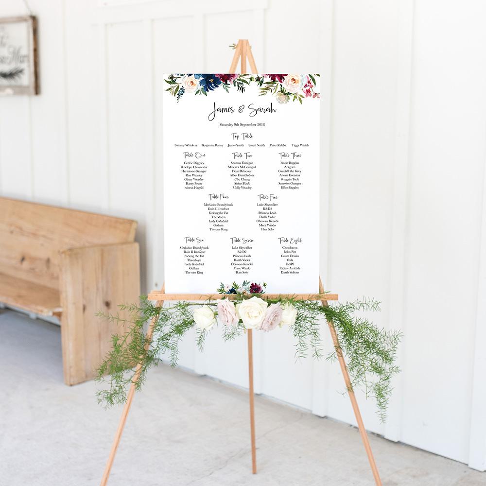 'Blue Velvet' A3 Table Plan