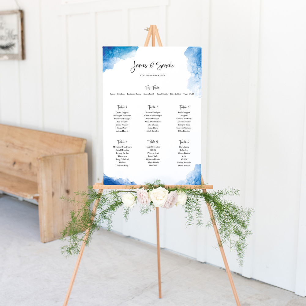 'Blue Watercolour Splash' A3 Table Plan