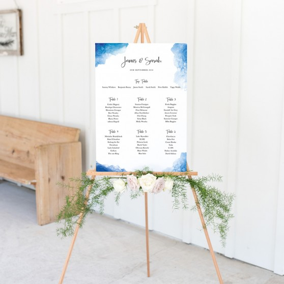 'Blue Watercolour Splash' A3 Table Plan