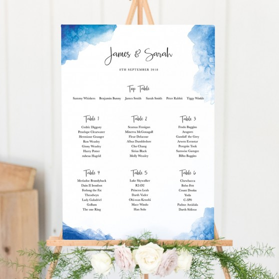 'Blue Watercolour Splash' Large White Table Plan A2/A1