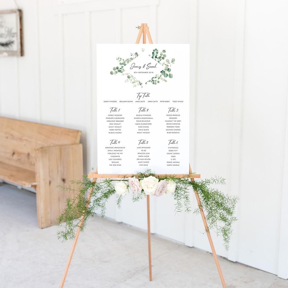 'Classic Eucalyptus Diamond' Large White Table Plan A2/A1